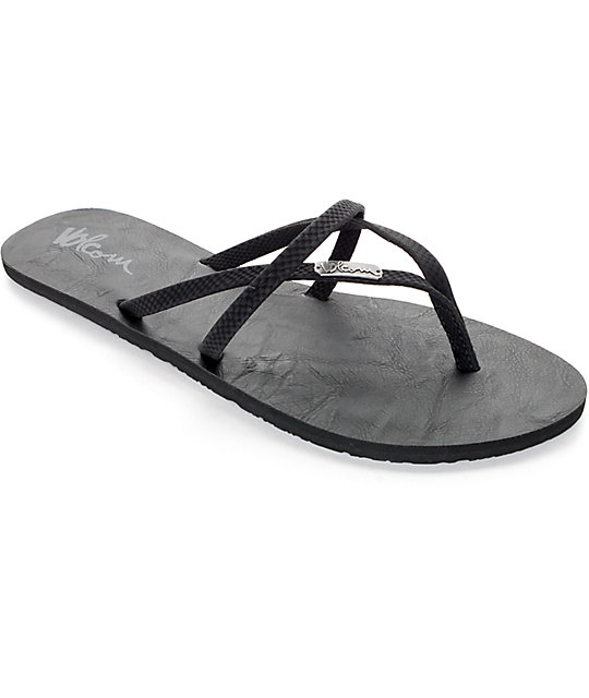 844d651ecf5ec9 Volcom All Night Long Black Sulfur Sandals