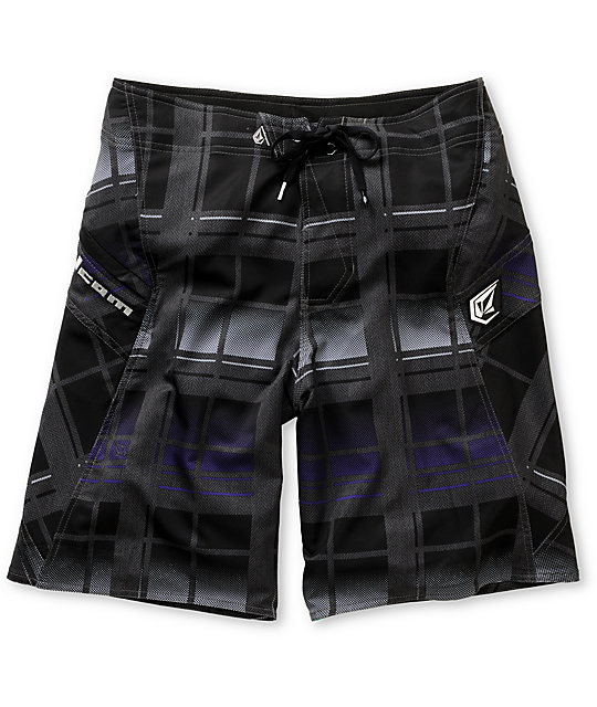 Volcom Armstrong Black Plaid Board Shorts