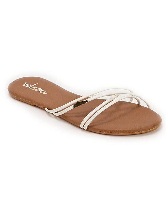 Volcom Awesome White & Brown Sandals