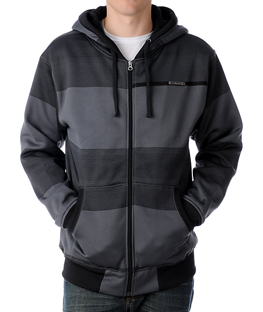 Volcom Big Stripe Charcoal Tech Fleece Jacket