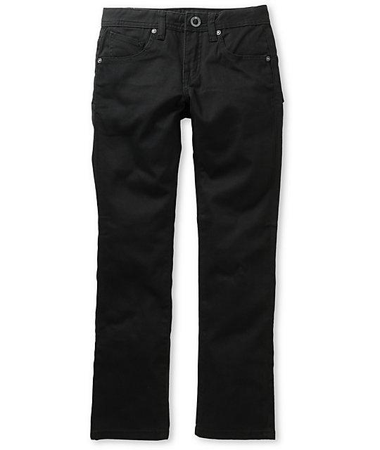 fa69d5bd8add16 Volcom Boys 4x4 Black Twill Slim Jeans   Zumiez