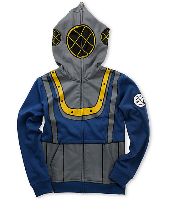 Volcom Boys Deep Sea Diver Blue Full Zip Face Mask Hoodie