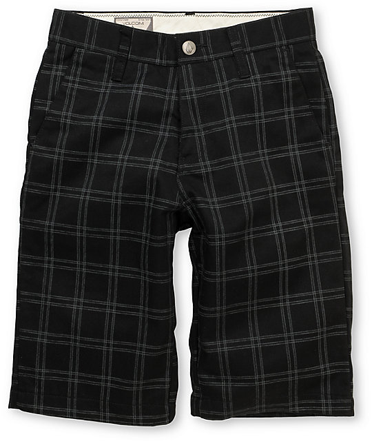 Volcom Boys Frickin Plaid Black Chino Shorts