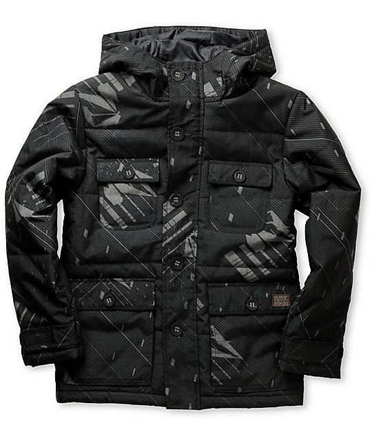 Volcom Boys Hammied Bro Black Hooded Snowboard Jacket