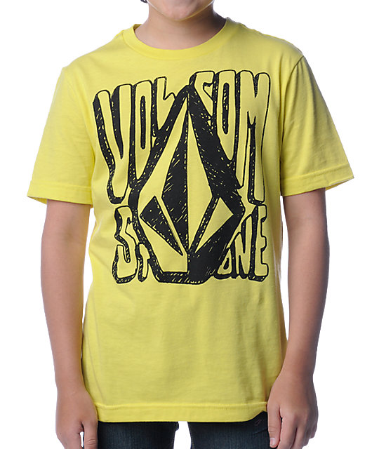 Volcom Boys Hand Drawn Yellow T-Shirt