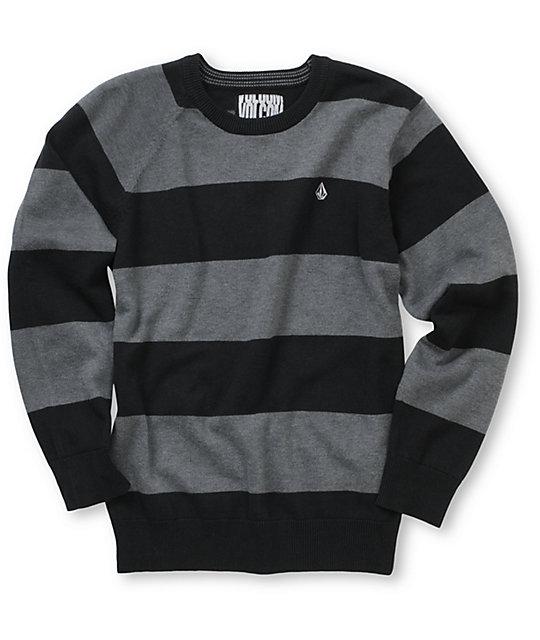 dddb317fb Volcom Boys Innercircle Black Striped Crew Neck Sweater