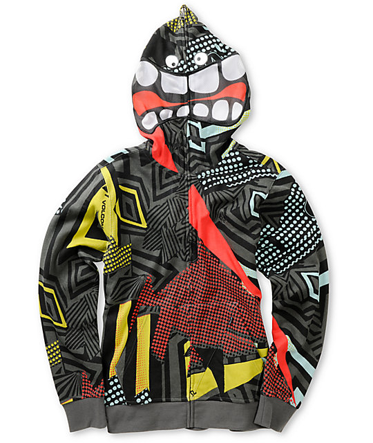 Volcom Boys Magmouth Black Printed Face Mask Hoodie