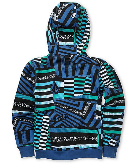 Volcom Boys Maguro Blue Full Zip Face Mask Hoodie