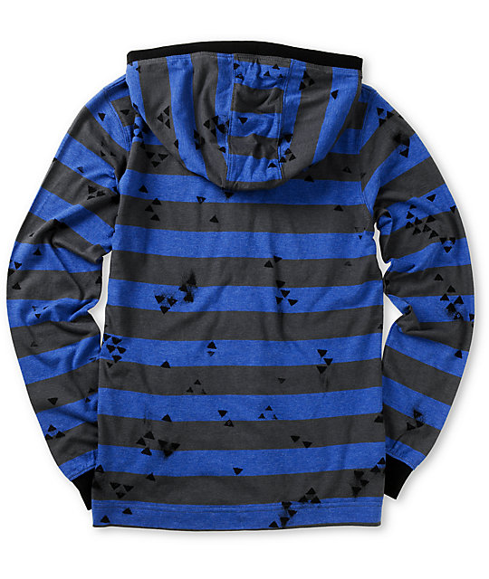 Volcom Boys Othercircle Blue Striped Zip Up Hoodie