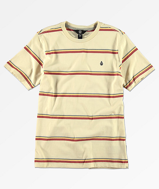 Volcom Boys Sheldon Cream Striped T-Shirt
