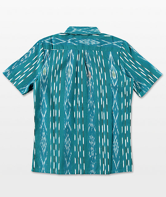 Volcom Boys Slogan Blue Woven Button Up Shirt