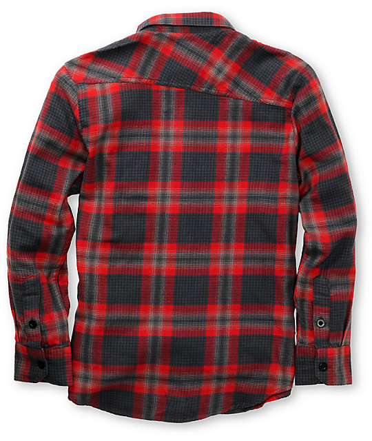 Volcom Boys Stave Red Plaid Flannel Shirt