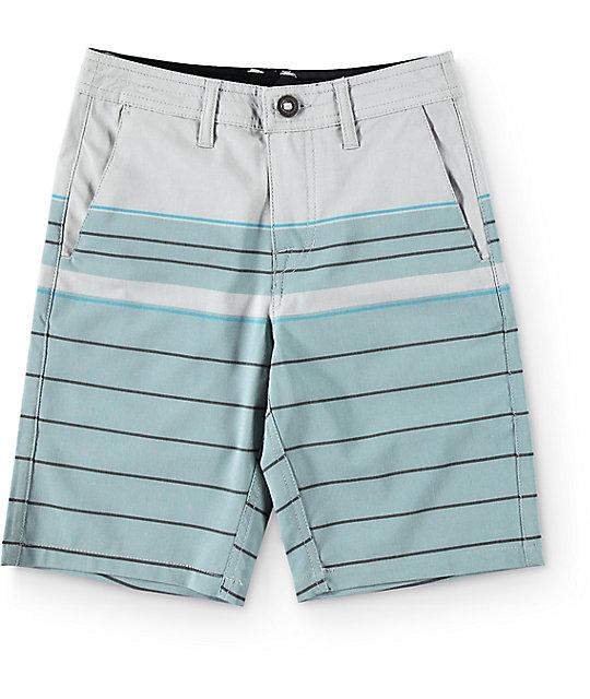 16052b82f6 Volcom Boys Surf N' Turf Stripe Hybrid Storm Blue Board Shorts | Zumiez