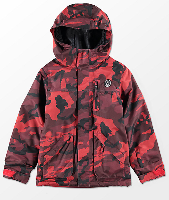 Volcom Boys VS Red Camo Insulated 10K Snowboard Jacket