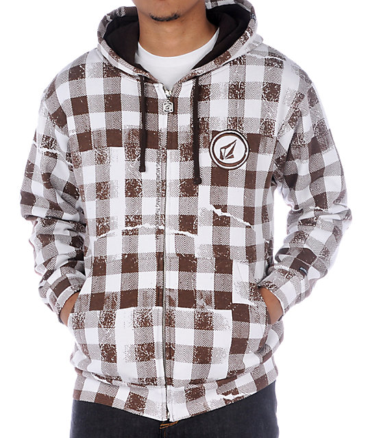 Volcom Buffalo Brown Plaid Hoodie