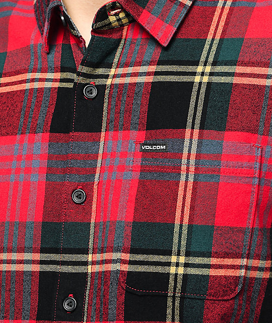 Volcom Caden Red & Black Flannel Shirt