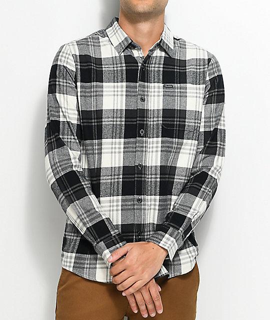 Volcom caden white black flannel shirt zumiez for White and black flannel shirt womens