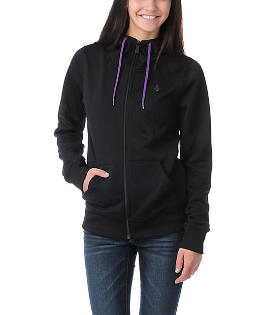 Volcom Carpel 2013 Black Full Zip Tech Fleece Jacket