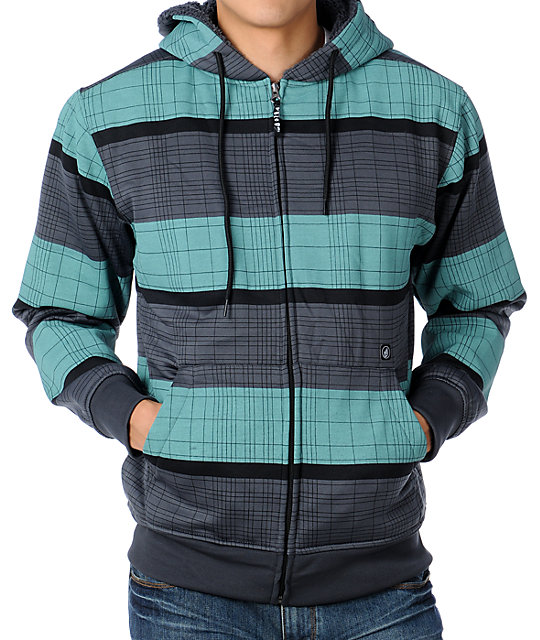 Volcom Cell Plaid Charcoal & Teal Tech Fleece Jacket