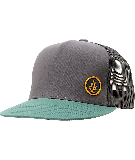 Volcom Circle Patch Greey   Green Trucker Hat  5266704c78e
