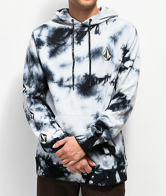better official images new product Volcom Deadly Stones Black Tie Dye Hoodie | Zumiez