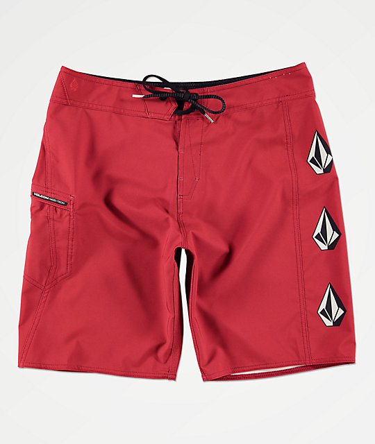 Volcom Deadly Stones shorts de baño de color borgoña