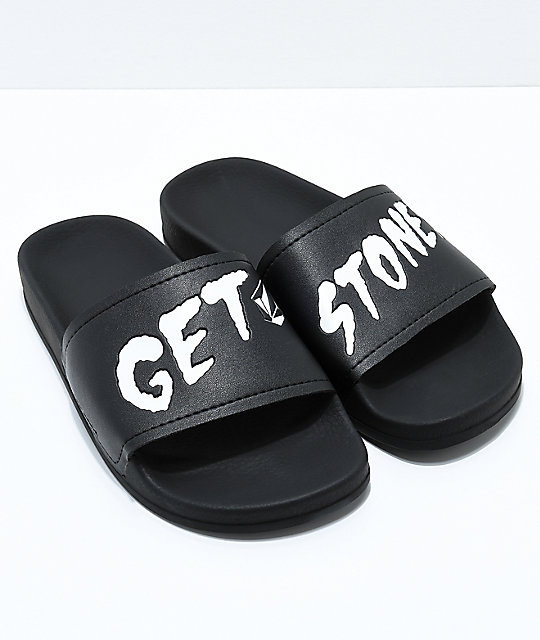 Volcom Don't Trip (Get Stoned) Black Slide Sandals