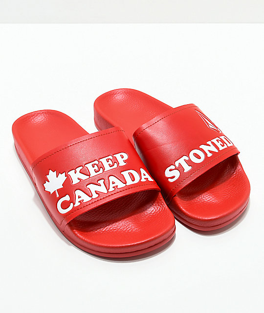 Volcom Dont Trip Canada Red Slide Sandals