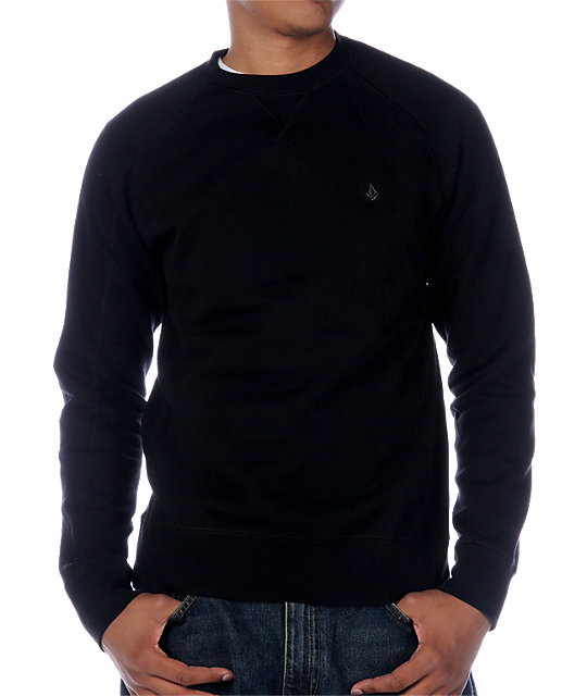 Volcom Duster Black Crew Neck Sweatshirt