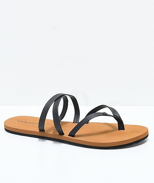 b7f68b3bb Volcom Easy Breezy Black Strappy Sandals