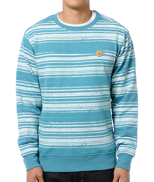 Volcom Eds Ocean Striped Crew Neck Sweatshirt