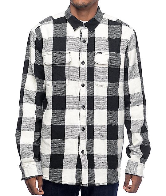 Harbor Bay Mens Big Tall Long Sleeve Black White Plaid Check Cotton Flannel