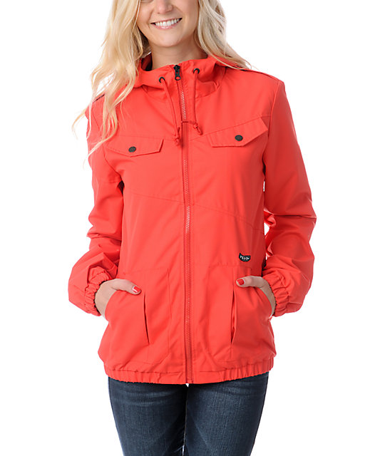 c0ed0155c2d Volcom Enemy Lines Fire Red Windbreaker Jacket