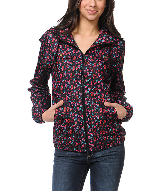 Volcom Enemy Lines Floral Print Windbreaker Jacket