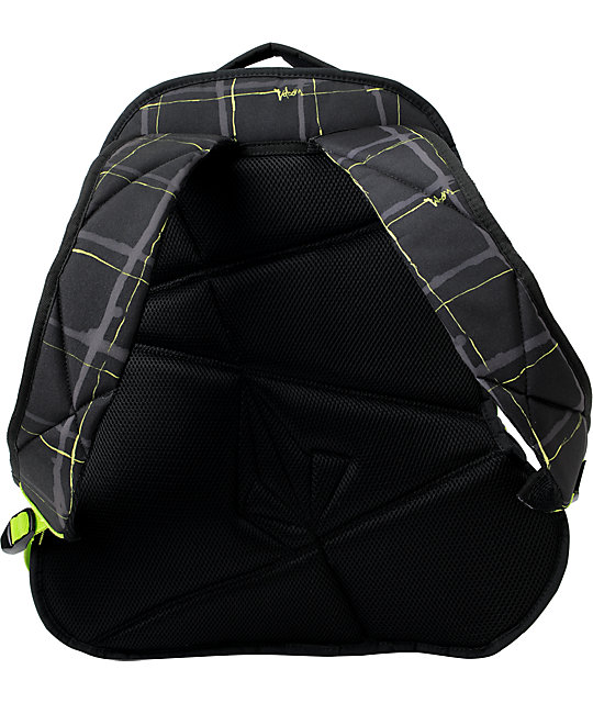 Volcom Equilibrium Black & Green Plaid Skate Backpack