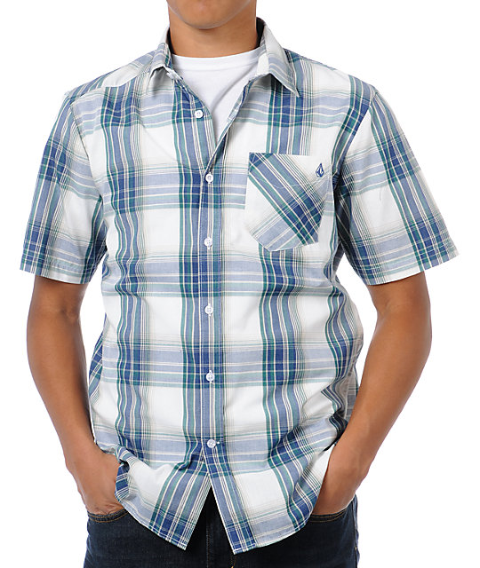 Volcom Ex Factor Blue & Green Plaid Button Up Shirt