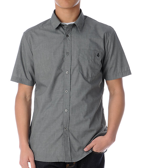 Volcom Ex Factor Charcoal Button Up Shirt