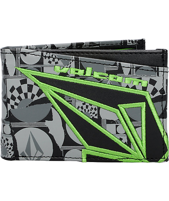 Volcom Fader Black & Green Bifold Wallet