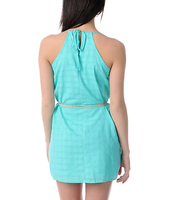 Volcom Festivus Woven Mint Green Dress