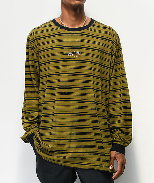 Volcom Fluxer Green & Black Stripe Long Sleeve T-Shirt