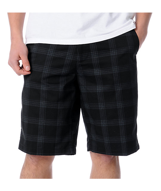 Volcom Frickin Black Plaid Chino Shorts