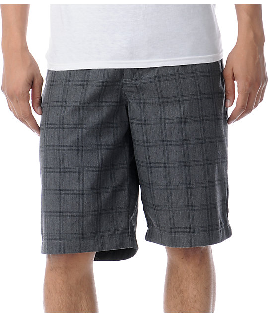 Volcom Frickin Charcoal Grey Plaid Chino Shorts