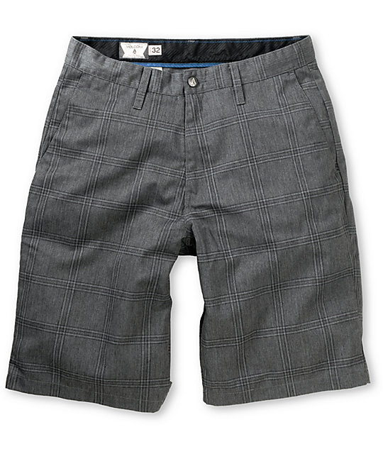 Volcom Frickin Modern Charcoal Plaid Chino Shorts