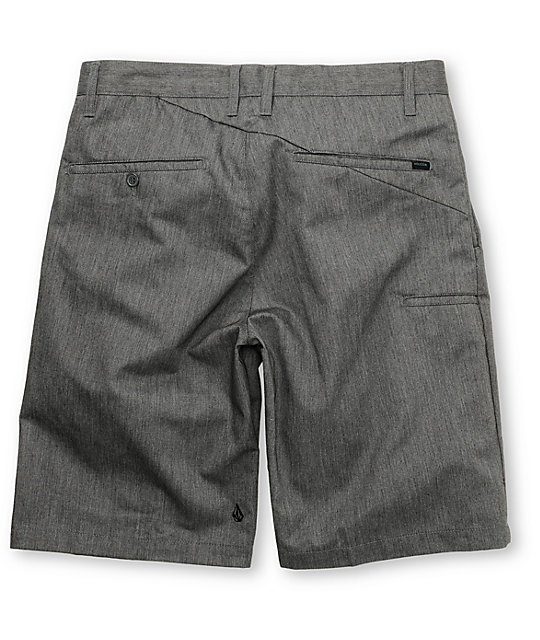 Volcom Frickin Plaid Chino Charcoal Shorts