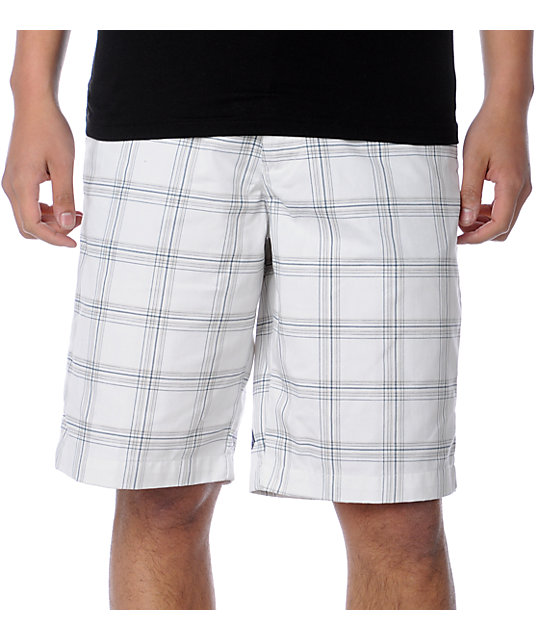 Volcom Frickin Plaid Chino White Shorts