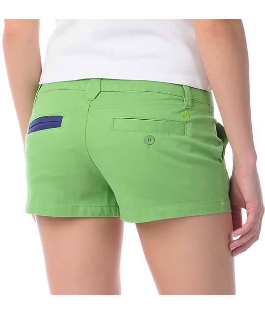 Volcom Frochickie Solid Lime Green Shorts