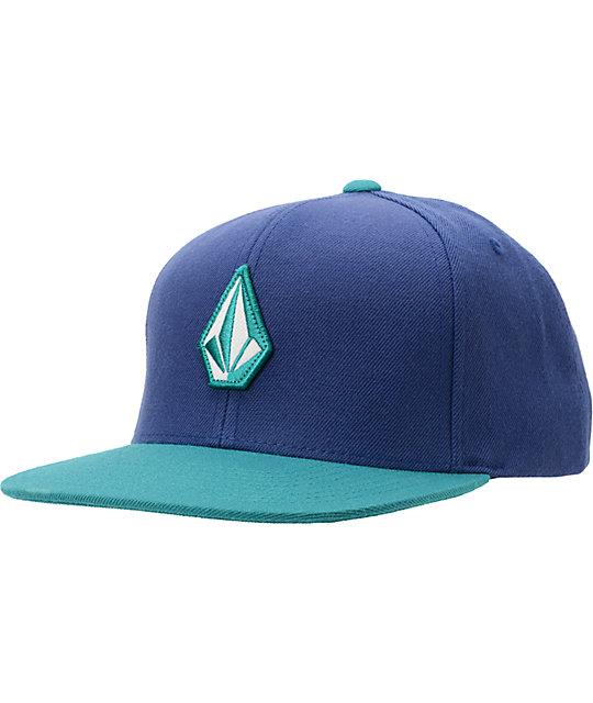 Volcom Full Stone Aqua   Blue Snapback Hat  aaf912a47e3