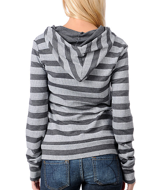 Volcom Get A Clue Wide Stripes Charcoal Pullover Hoodie