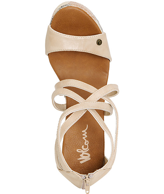 Volcom Getting Around Beige Wedge Sandals
