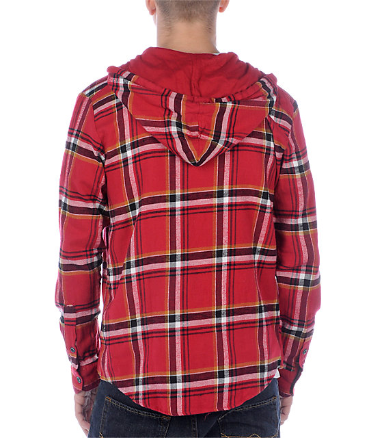 Volcom Gizmo Red Hooded Flannel Shirt
